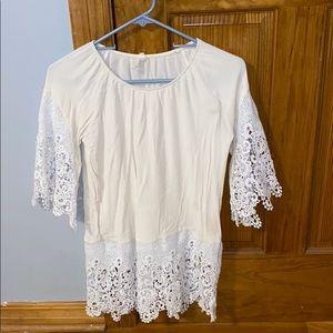 Women's White & Cream Blouse